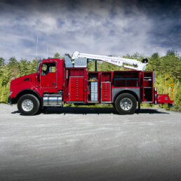 ORO 14M6 mechanic truck body in red, street side with compartments open on Kenworth T370 chassis and a Stellar 12630 telescopic crane.