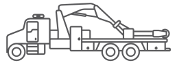 ORO OTR tire truck body series illustrated icon.