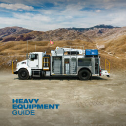 Heavy Equipment Guide magazine logo with ORO 14M6 mechanic service truck on Kenworth T440 with a Stellar® 12630 telescopic mechanic crane.