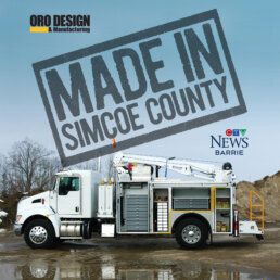ORO Design & Manufacturing Ltd. made in simcoe county campaign image with ORO 12M6 mechanic service truck body with 2LD mobile lubrication deck on a Kenworth T370 chassis with a Stellar® 7630 telescopic mechanic crane.