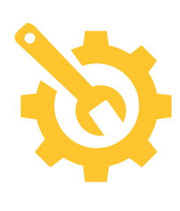 Support icon, gear and wrench.
